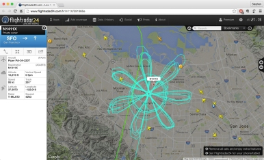A Piper PA-34 draws a flower 10,290 feet above Palo Alto and San Jose, CA, on February 19, 2015