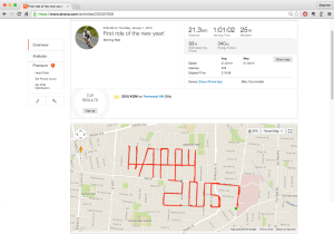 Happy-New-Year-2015 • Stephen Lund's first Strava art doodles on the streets of Victoria, BC, Canada