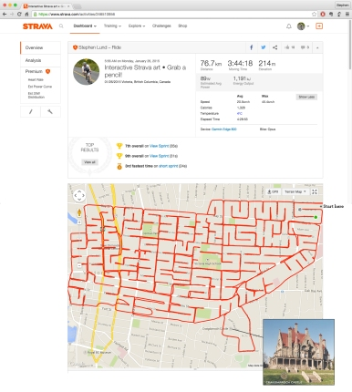 Interactive Strava art by Stephen Lund • There's just one way through the maze to Victoria's Craigdarroch Castle garmin gps strava art cycling cyclist bicycle Stephen Lund