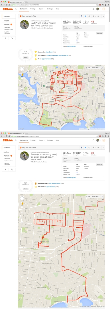 Stephen Lund's first Strava picture on the streets of Victoria BC garmin gps strava art how-to tips and tricks lessons self-portrait selfie