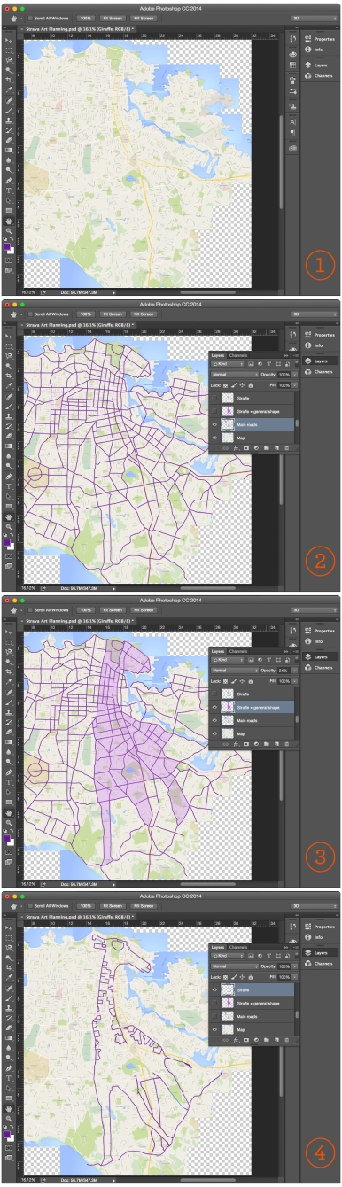 "Potential Strava art pictures ""pop"" from the map when you highlight main thoroughfares and long connecting streets garmin gps art cycling cyclist bicycle"