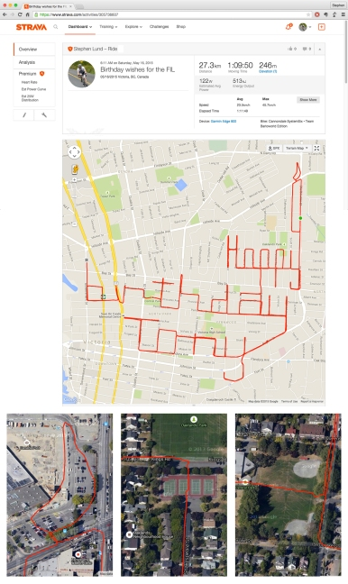Happy birthday message and Strava art candle • Strava art and bike-writing by Stephen Lund on the streets of Victoria BC garmin gps cycling cyclist bicycle