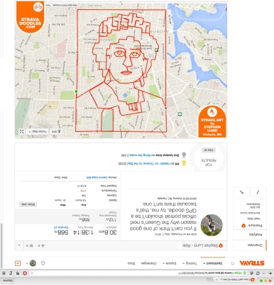Her Majesty Queen Elizabeth II sketched with GPS by Stephen Lund in Victoria BC Canada Garmin GPS Strava art Strava doodles royalty