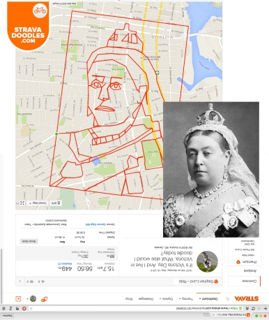 Queen Victoria sketched on Victoria Day 2015 with GPS by Stephen Lund in Victoria BC Canada Garmin GPS Strava art Strava doodles royalty British Monarchy