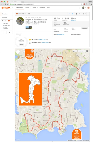 GPS-art illustration of Italy and Sicily by GPS artist Stephen Lund in Victoria, BC, Canada GPS Garmin Strava art cyclist cycling creativity Italy Sicily Europe Mediterranean geography cartography