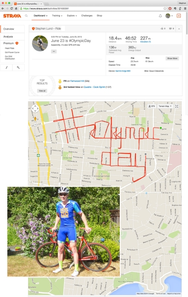 #OlympicDay – June 23, 2015 – by GPS artist Stephen Lund in Victoria, BC, Canada GPS Garmin Strava art cyclist cycling creativity 2015 Olympic Games Rio de Janeiro contest