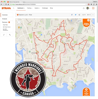 Wounded Warriors Canada logo by GPS artist Stephen Lund in Victoria, BC, Canada GPS Garmin Strava art cyclist cycling creativity Wounded Warriors 2015 Battlefield Bike Ride Canadian Armed Forces