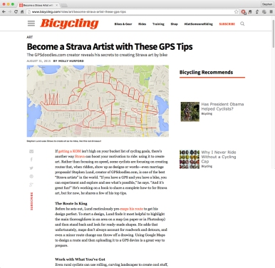 Become a Strava Artist with These GPS Tips Bicycling Magazine Molly Hurford– interview with GPS artist Stephen Lund • Victoria BC Garmin GPS Strava art YYJ how-to DIY