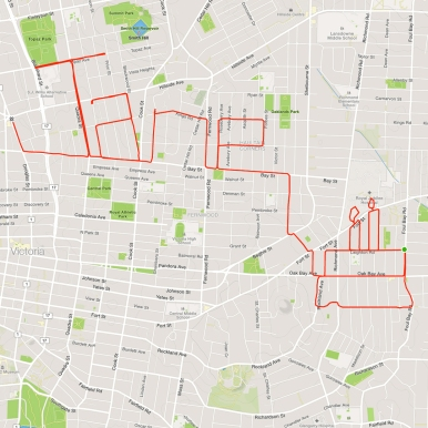 Happy birthday message and GPS art balloon • Strava art and bike-writing by Stephen Lund on the streets of Victoria BC garmin gps cycling cyclist bicycle
