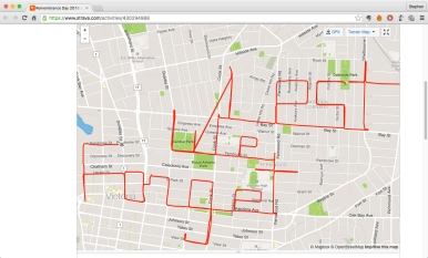 Remembrance Day poppy • GPS art and bike-writing by Stephen Lund on the streets of Victoria BC garmin gps cycling cyclist bicycle Lest We Forget