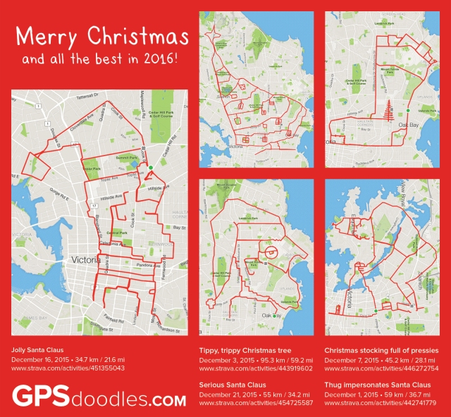 Christmas 2015 doodles by GPS artist Stephen Lund in Victoria, BC, Canada GPS Garmin Strava art cyclist cycling creativity urban art street art Christmas Santa Claus Saint Nicholas Sinterklaas Father Christmas Papa Noël Christmas stocking Christmas tree