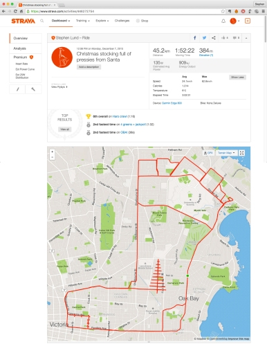 Stocking with pressies from Santa by GPS artist Stephen Lund in Victoria, BC, Canada GPS Garmin Strava art cyclist cycling creativity urban art street art Christmas stocking Christmas presents Santa Claus