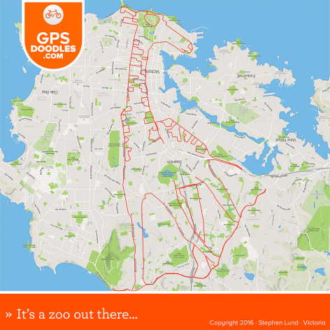 Giraffe GPS doodle by Stephen Lund Victoria BC GPS art Strava art Garmin cyclist cycling bicycle urban art street art