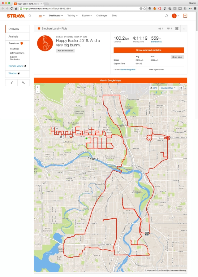 Hoppy Easter 2016 by GPS artist Stephen Lund in Victoria, BC, Canada GPS Garmin Strava art cyclist cycling creativity Easter 2016 Happy Easter greetings Easter bunny rabbit