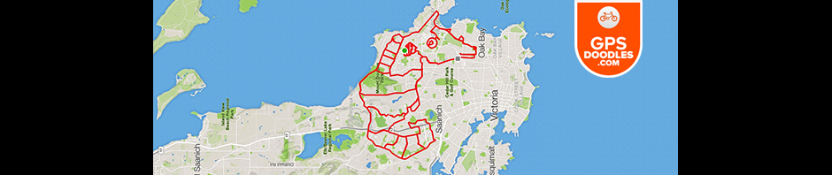 Seahorse by GPS artist Stephen Lund in Victoria, BC, Canada GPS Garmin Strava art cyclist cycling creativity animals wildlife marine life sea life Hippocampus ocean