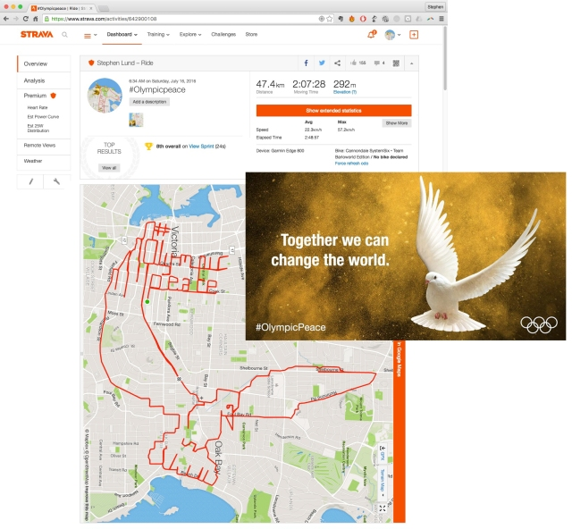 #Olympicpeace by GPS artist Stephen Lund in Victoria, BC, Canada GPS Garmin Strava art cyclist cycling creativity Rio de Janeiro IOC International Olympic Committee Rio 2016 summer Olympic Games 2016