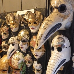 Plague doctor (Medico Della Peste) Venetian masks at a Venetian mask shop in Venice, Italy
