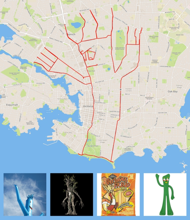 Happy flappy floppy inflatable tubeman by GPS artist Stephen Lund in Victoria, BC, Canada GPS Garmin Strava art cyclist cycling creativity urban art street art airdancer tubeman gas station Tolkien Ent Lord of the Rings Cheestrings Gumby
