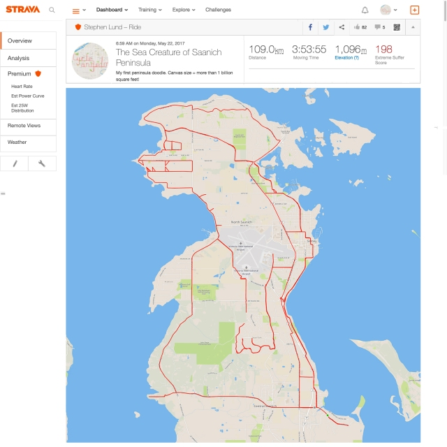 GPS Sea Creature of Saanich Peninsula by GPS artist Stephen Lund in Victoria, BC, Canada GPS Garmin Strava art cyclist cycling creativity urban art street art sea monster sea serpent Saanich North Saanich Central Saanich Land's End Sidney BC